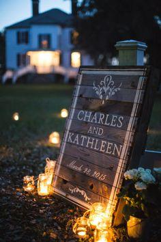 Charles and Kathleen's South Carolina Tea Room Wedding on @intimatewedding Photography by @mickschulte #weddingsign #weddingdecor
