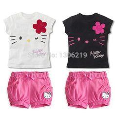 Hello Kitty Girls Clothing Set Children Cartoon KT Cat Sports Suit Baby Kids…
