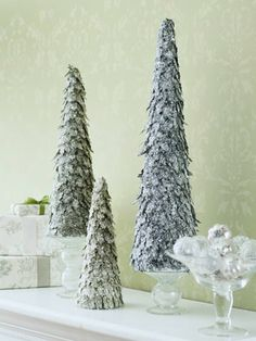 Cardstock and glitter trees.                                      Twinkling Trees: A Do-It-Yourself Christmas Tabletop Idea