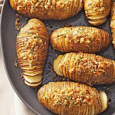 Hasselback Potatoes with Seasoned Bread Crumbs 23 potato recipes worthy of your next party Potato Side Dishes, Vegetable Dishes, Vegetable Recipes, Substitute For Bread Crumbs, Hasselback Potatoes, Baked Potatoes, Russet Potatoes, Party Potatoes, Seasoned Potatoes