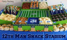 This was one of my most popular posts last year - My Seahawks Snack Stadium! I'm cheering them on this weekend - lots of fun football theme ideas, check them out on my website here http://www.partypinching.com/parties-holidays/super-bowl-snack-stadium/