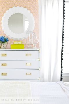 DIY mirror + white campaign dresser | sarah m. dorsey designs