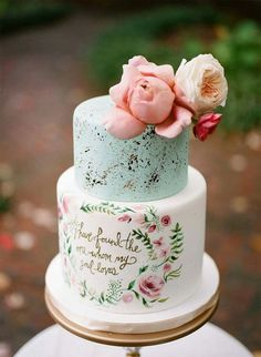 White cyan 2 tier pink floral wedding cake by Nashville Sweets / Shabby #floralweddingcakes