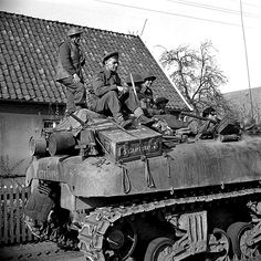 Canadians in Germany - Infantrymen of the Argyll and Sutherland Highlanders of Canada riding on a Kangaroo armoured personnel carrier, Wertle, Germany, 11 April 1945.Capt. Alexander M. Stirton / Canada. Dept. of National Defence / Library and Archives Canada / PA-159065