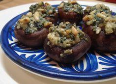 Gevulde champignons met pesto