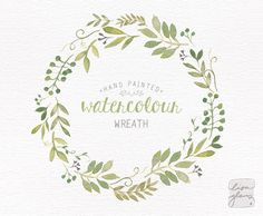Watercolor wreath: painted floral wreath clipart / Wedding invitation clip art / commercial use / Greenery branches and leaves / CM0063j by LisaGlanzGraphics on Etsy https://www.etsy.com/listing/219807736/watercolor-wreath-painted-floral-wreath