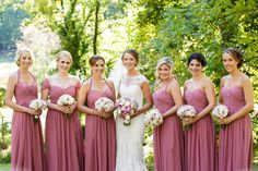 Bride with her bridesmaids in dusty pink dresses | Ashley Gerrity Photography | Whitemarsh Country Club, Lafayette Hill Wedding