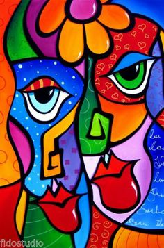 Move On - Original Abstract Modern Decor Color Art FACES Painting ...