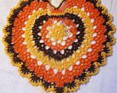 Thanksgiving doily harvest turkey fall autumn crochet thread home decor unique gift heart