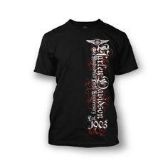 Harley-Davidson® Men's 110th Anniversary Black Letter T-Shirt. Graphics. All Cotton. 302917600 | http://www.bikeraa.com