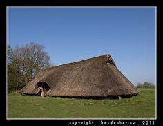 replica of a prehistoric farm in drenthe holland