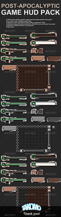 Post-Apocalyptic Game HUD/Menu Pack #GraphicRiver HUD/Menu graphics for your game. Themed as post-apocalyptic, gritty, rusty and worn out. Pack (.zip) contains following: Health bar (empty + full) Ammunition bar (empty + full) Menu item button (normal + hovered) Narrow button (up + down) Wide button (up + down) Inventory popup with horizontal + vertical bars, grid and close button (up + down) All in 3 colors: rusty, metallic & partly rusty All items are foldered, layered...