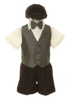 Amazon.com: Dress Suit Outfit Set-Shorts,Bowtie,Vest, Short Sleeve Shirt & Hat for Infant Baby Boys & Toddler, Checks-Taupe: Clothing