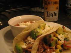 Slow Cooked Pork Carnita Tacos with Corn and Avocado Salsa