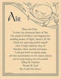 Air Evocation Parchment Page for Book of Shadows, Altar!