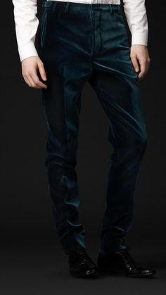 Skinny Fit Cotton Velvet Trousers | Burberry