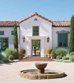 Rick Rosen home in Santa Barbara - front door and front courtyard fountain