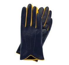 WITTCHEN Damenhandschuhe Lederhandschuhe Damen, Größe:S, Marineblau/Gelb…