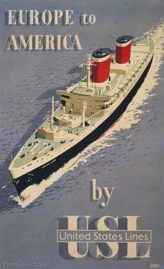 1920s Holland-America Line Vintage Style Ocean Liner Travel Poster 20x28