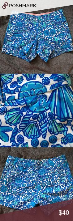 """LILLY PULITZER 5"""" BEACH THEME SHORTS 100% cotton Reposhing Lilly Pulitzer shorts. SIZE 4 (advertised as a 6) & I didn't catch it. NWOT they have/pockets in the front. Zipper & button. Belt loops. In the back are two pockets. Inseam is 5"""". Everything is longer in the back. So the Front of the thigh at the bottom opening is 9 1/4"""". The back of the thigh opening is 14 1/2"""" these are seam to seam measurements. The waist band does not have a seam. The top of the band measures 15 3/4"""". Bottom of…"""