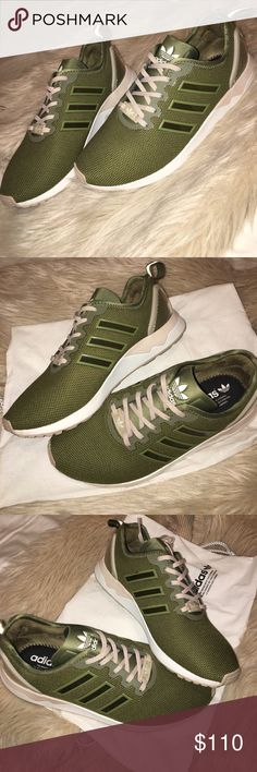 ADIDAS MI ZX FLUX ADV SHOES PERSONALIZED Vintage style Adidas running shoes. Authentic. Size 7.5. Mesh, olive green base with off-white outsole, clay brown midsole. Perfect condition. Only worn 2-3 times. Very comfortable for every day wear or athletic use. adidas Shoes Athletic Shoes