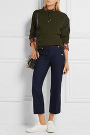 Sailor cropped wool-blend straight-leg pants