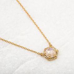Moonstone & Diamond Hexagon Pendant Necklace - local eclectic - 1