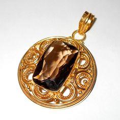 Exclusive designer brass pendants with smokey quartz cut gemstone,gold vermeil over brass cut semiprecious gemstone from India.