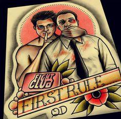 Fight Club Art Print by ParlorTattooPrints on Etsy