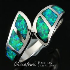 KIWI GREEN FIRE OPAL SILVER JEWELRY BYPASS RING US SIZE 7 8 9 #Chinatown #Wrap