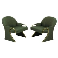 Sculptural sled base Art Deco revival lounge chairs with curved brass detailed arms that continue down the front of the sled base. The arms evoke some designs by Pierre Cardin. Upholstered in a dark green pin point silk blend upholstery. Art Deco Chair, Art Deco Furniture, Wood Furniture, Bed Back Design, Art Deco Living Room, Living Rooms, Art Deco Pattern, Modern Art Deco, Art Deco Home