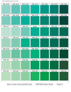 PANTONE Color Chart - (green with more yellow than blue): Pantone Verde, Paleta Pantone, Teal Color Schemes, Teal Colors, Teal Green Color, Summer Colors, Green Rooms, Bedroom Green, Color Shades