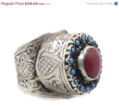 ON SALE Silver Big Kuchi Ring  Vintage Big by InVintageHeaven