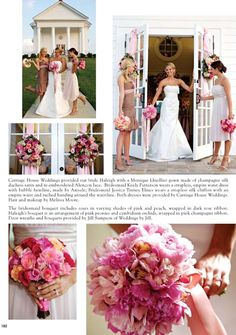<3 top left pic....l<3 wreath (flowers) on door, l<3 flowers, <3 brown bridesmaid dress with pink ribbon...
