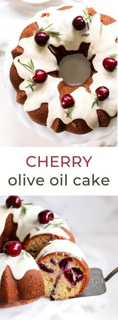 Nutritious Snack Tips For Equally Young Ones And Adults Cherry Olive Oil Cake - A Simple Recipe For Light And Moist Italian Olive Oil Cake With Fresh Cherry Filling. Homemade Desserts, Best Dessert Recipes, Homemade Cakes, Cupcake Recipes, Fun Desserts, Cherry Desserts, Frosting Recipes, Sweets Recipes, Cooking Recipes