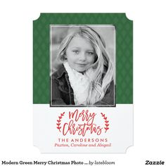 Modern Green Merry Christmas Photo Card. Order yours at Boardman Printing