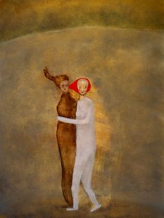 """Figurative art print of original painting. gold and red. """"Steal Away"""""""
