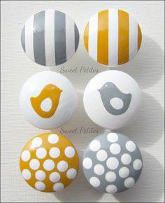 Hand Painted Knob Dresser Drawer Gray and Yellow Stripes - Polka Dots - Birds. $7.00, via Etsy.