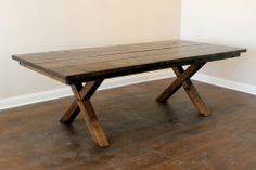 Stockyard Table - Inspired by the form and function of Kansas City's historic stockyard furnishings, this rustic table is handcrafted for the more modern household activities of today. Contemporary Dining Table, Table And Chair Sets, Rustic Table, Dining Bench, Household, Modern, Kansas City, Inspiration, Furniture