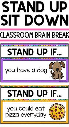 Classroom Brain Break Quick brain break game Stand Up Sit Down First Grade Classroom, Kindergarten Classroom, Brain Breaks For Kindergarten, Music Classroom, Classroom Decor, Fun Classroom Activities, Music Teachers, First Day Of School Activities, Morning Meeting Activities