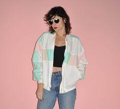 Vintage 80s White Pastel Bomber Windbreaker Hipster Jacket