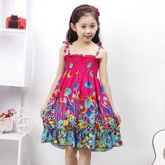 2015 new summer print girl dress baby girl clothes children ...