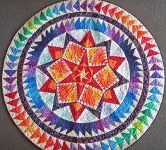 Round Quilted Handmade Batik Wall Hanging Art Quilt Aurora | Etsy