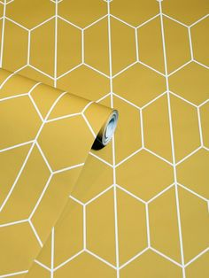 This stylish Linear Geo Wallpaper will make a great feature in your home with it's simple yet effective geometric design. The delicate linear pattern forms interlocking hexagonal shapes in soft cream on an ochre yellow backdrop, with a smooth matte finish. Easy to apply, this high quality wallpaper will look great when used to decorate a whole room or to create a distinctive feature wall. Linear Pattern, Hexagon Pattern, Pattern Matching, High Quality Wallpapers, Geometric Wallpaper, Yellow Background, Geometric Designs, Bold Colors, Interior Styling