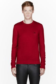 DSQUARED2 Red logo knit crewneck