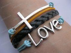Bracelet- God love you bracelet,cross bracelet,love bracelet,black braid bracelet-Z212. $8.50