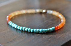 Hessonite Garnet & Turquoise Gemstone Bead by EleriaJewelry, $86.00