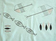 More MCM fish! Retro Fabric, Mid Century, Fish, Medieval