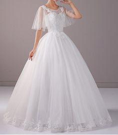 New Lace flower Wedding Dress bat wing sleeve gown sweet heart custom made  tulle 0b174fd6f9a7