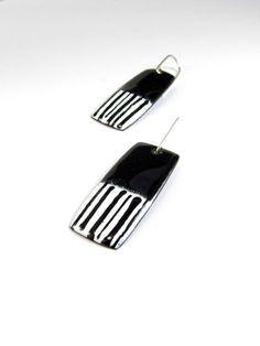 Enamelled Copper Earrings  Black and White by RedBikeStudio, $29.00